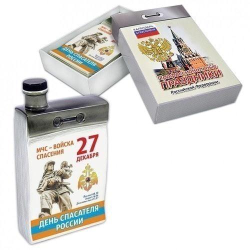 """Подарочный набор с фарфоровым штофом """"Календарь спасателя"""" (фото)"""