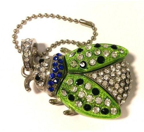Подарочная ювелирная флешка. Божья коровка (цвет зеленый) (фото)