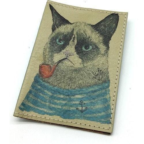 Кожаная обложка на паспорт. Кот-моряк (фото)