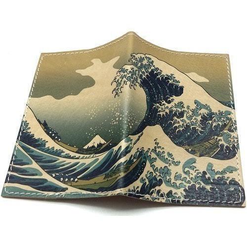 Кожаная обложка на паспорт. Большая волна в Канагаве (фото)