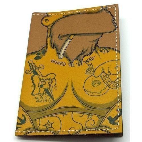 Кожаная обложка на паспорт. Гомер Симпсон в тату (фото)
