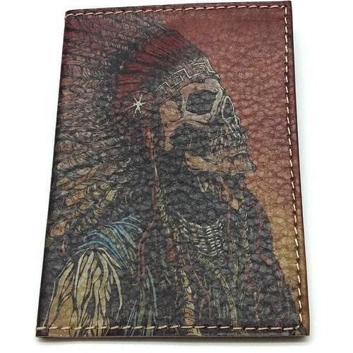 Кожаная обложка на паспорт. Индеец (фото)