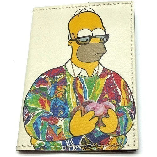 Кожаная обложка на паспорт. Гомер Симпсон с пончиками (фото)