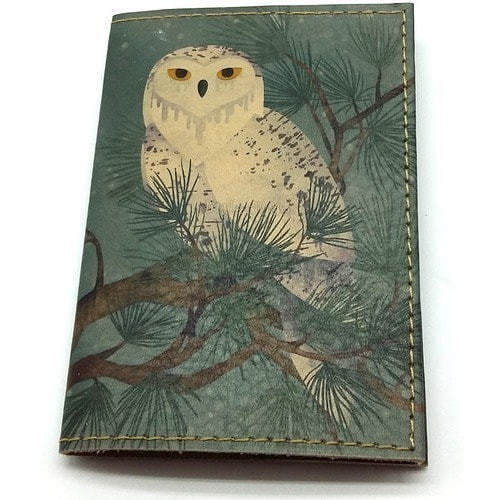 Кожаная обложка на паспорт. Полярная сова (фото)