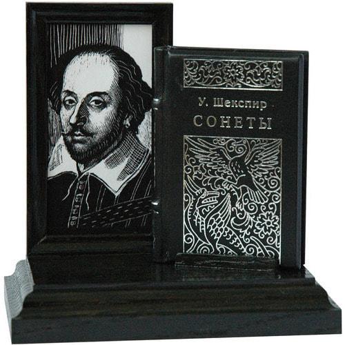Подарочный набор с миниатюрной книгой в кожаном переплете. Шекспир «Сонеты» (фото)