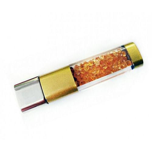 Подарочная металлическая флешка. Брелок с кристаллами. Цвет золото (фото)
