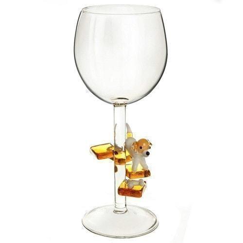 """Бокал для вина из стекла ручной работы. """"Джек Рассел"""" (фото)"""