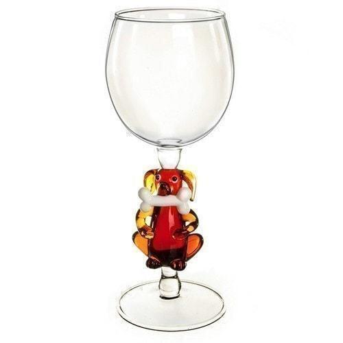 """Бокал для вина из стекла ручной работы. """"Собака с косточкой"""""""