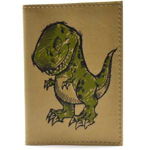 Кожаная обложка на паспорт. Динозаврик (фото)