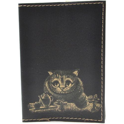 Кожаная обложка на паспорт. Чеширский кот (фото)