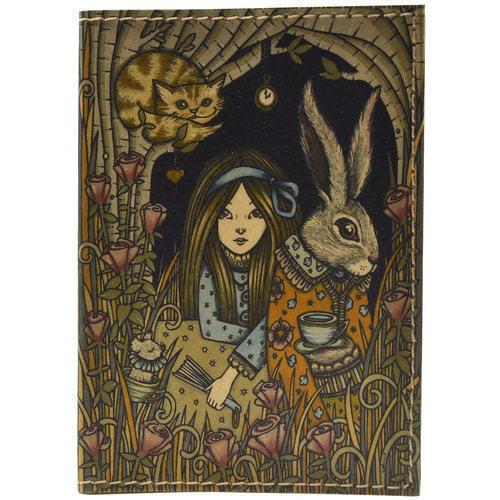 Кожаная обложка на паспорт. Алиса в стране чудес (фото)