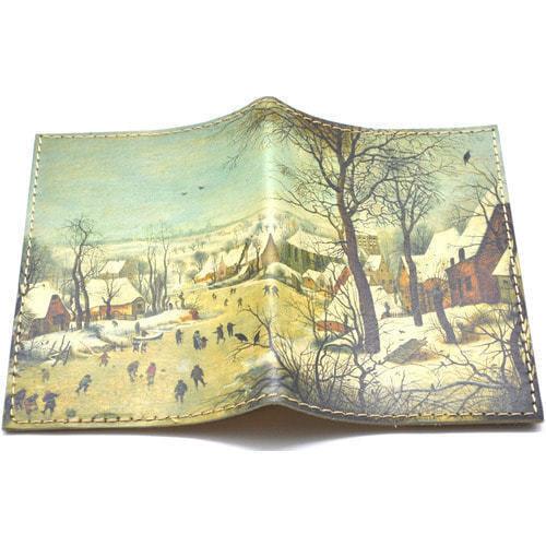 Кожаная обложка на паспорт. Зимний пейзаж (фото)