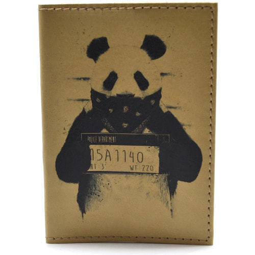Кожаная обложка на паспорт. Панда (фото)