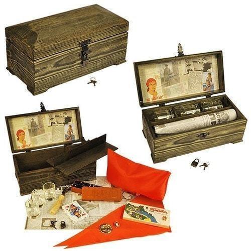 Подарочный набор в деревянном сундуке. Ностальгия (фото)
