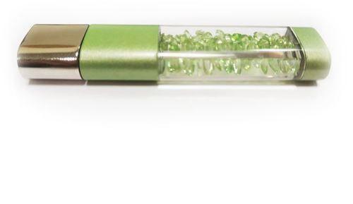 Ювелирная флешка. Брелок с кристаллами. Цвет зеленый (фото)
