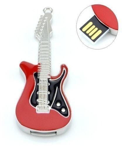 Подарочная металлическая флешка. Гитара красно-черная (фото)