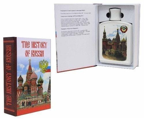 Подарочный набор с фарфоровым штофом. The History of Russia (штоф с изображением Герба СССР)