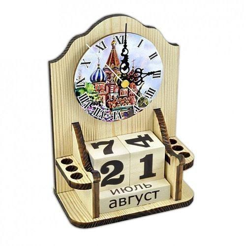 """Вечный календарь """"Московское время"""" с карандашницей и часами (фото)"""