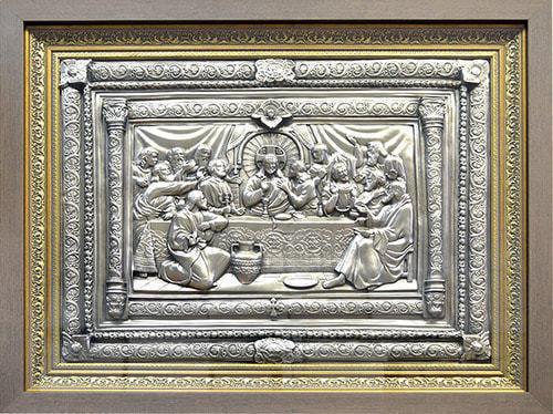 """Картина из металла """"Тайная вечеря"""" (никель) (65 х 53 см)"""