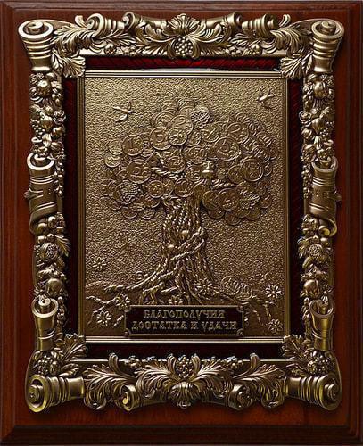 """Деревянная ключница настенная """"Денежное дерево"""" малая (фото)"""