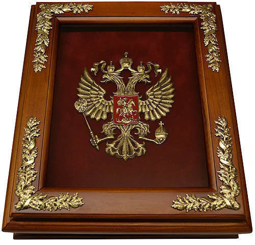 Деревянная ключница с гербом России настенная (29 х 34 см) (фото)