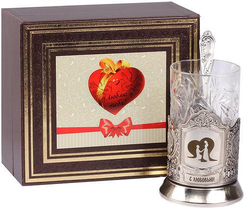 Подарочный набор c подстаканником в футляре (3 предмета). С любовью (фото)