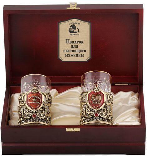 Подарочный набор c 2-мя подстаканниками в деревянной шкатулке (4 предмета). Юбилей 50 лет и Настоящий мужчина (фото)