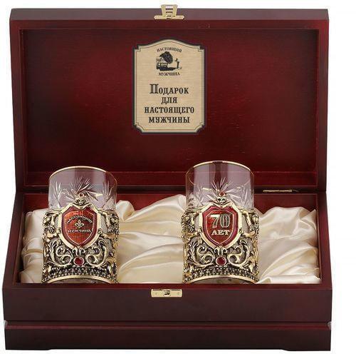 Подарочный набор c 2-мя подстаканниками в деревянной шкатулке (4 предмета). Юбилей 70 лет и Настоящий мужчина (фото)