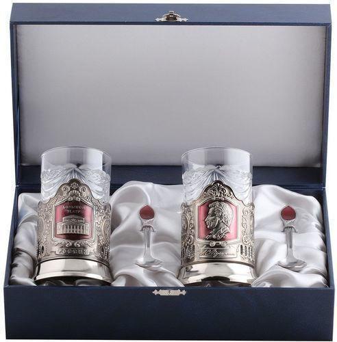Подарочный набор c 2-мя подстаканниками в шкатулке (6 предметов). Большой Театр и Пушкин А.С. (фото)