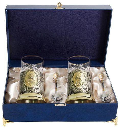 Подарочный набор c 2-мя подстаканниками в шкатулке (6 предметов). Пётр и Екатерина (фото)