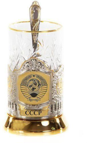 Подарочный набор c позолоченным подстаканником в футляре (3 предмета). СССР (фото)
