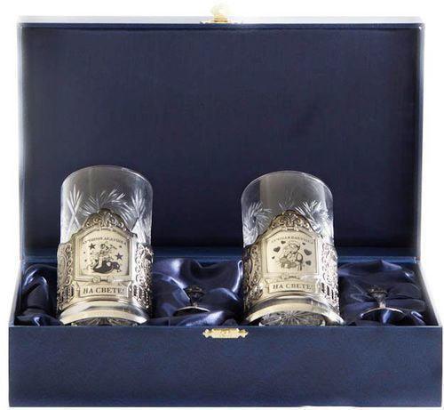Подарочный набор c 2-мя подстаканниками в шкатулке (6 предметов). Лучший дедушка и Лучшая бабушка (фото)