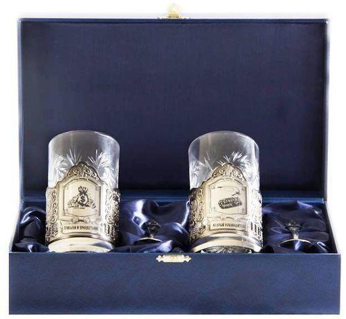 Подарочный набор c 2-мя подстаканниками в шкатулке (6 предметов). Мудрый руководитель и Прибыли и процветания (фото)