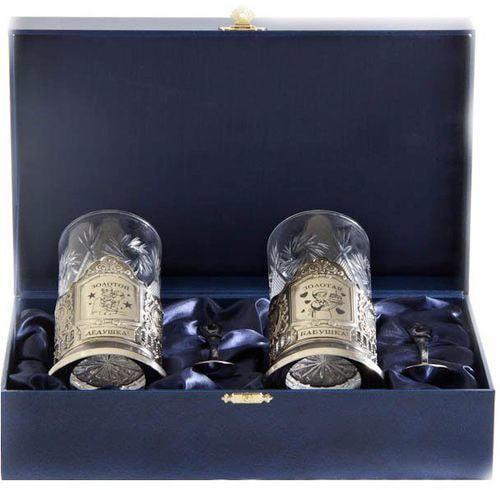 Подарочный набор c 2-мя подстаканниками в шкатулке (6 предметов). Золотой дедушка и Золотая бабушка (фото)