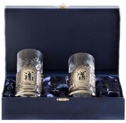Подарочный набор c 2-мя подстаканниками в шкатулке (6 предметов). Золотой папа и Золотая мама (фото)