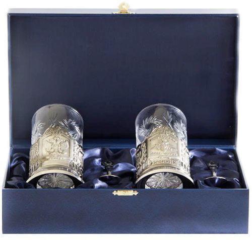 Подарочный набор c 2-мя подстаканниками в шкатулке (6 предметов). Герб и Отечество, Долг, Честь (фото)