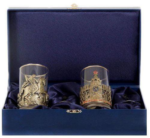 Подарочный набор c 2-мя подстаканниками в шкатулке (6 предметов). Славься Отечество и Георгий Победоносец (фото)