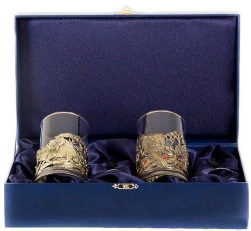 Подарочный набор c 2-мя подстаканниками в шкатулке (6 предметов). Охота на Кабана и Охота на Медведя (фото)