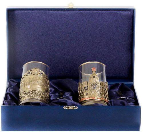 Подарочный набор c 2-мя подстаканниками в шкатулке (6 предметов). Москва и Герб России (фото)