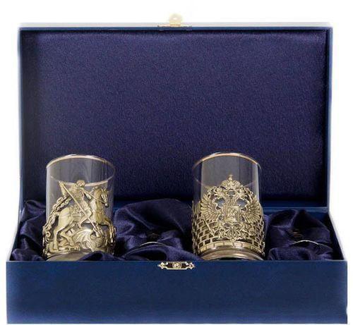 Подарочный набор c 2-мя подстаканниками в шкатулке (6 предметов). Герб России и Георгий Победоносец (фото)