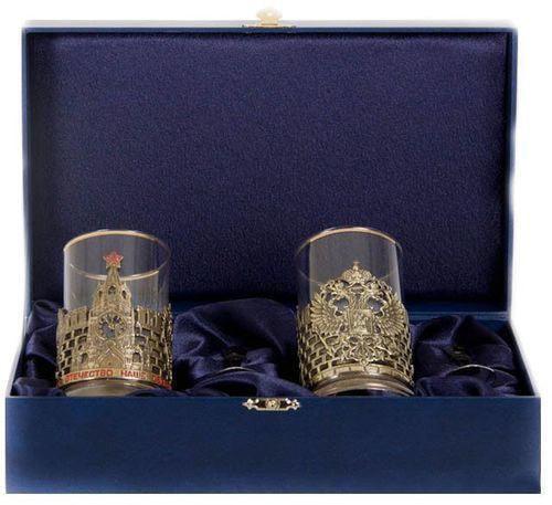 Подарочный набор c 2-мя подстаканниками в шкатулке (6 предметов). Славься Отечество и Герб России (фото)