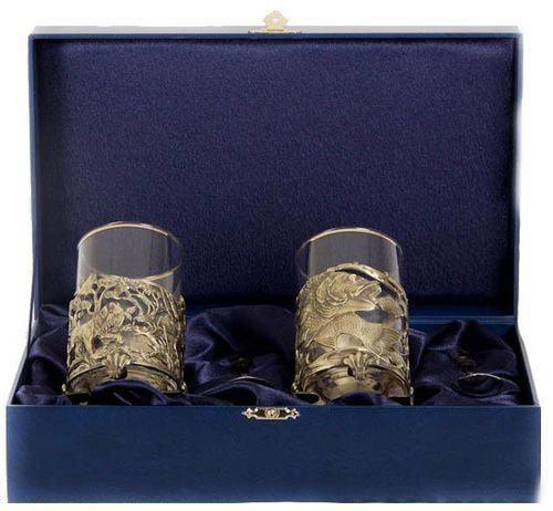 Подарочный набор c 2-мя подстаканниками в шкатулке (6 предметов). Охота на уток и Судак (фото)