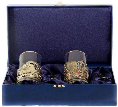 Подарочный набор c 2-мя подстаканниками в шкатулке (6 предметов). Охота и Рыбалка (фото)