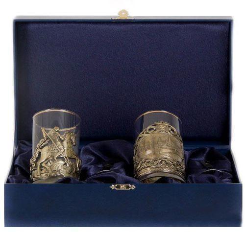 Подарочный набор c 2-мя подстаканниками в шкатулке (6 предметов). Москва и Георгий Победоносец (фото)