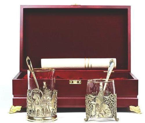 Подарочный набор c 2-мя подстаканниками в шкатулке (6 предметов). Тройка и сударыня (фото)