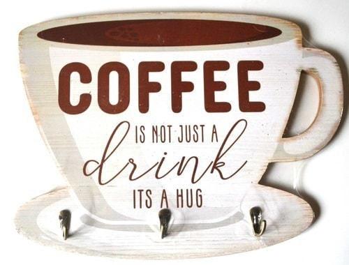 Винтажная деревянная ретро табличка с крючками. Кофе - это не просто напиток (30 x 40 см) (фото)