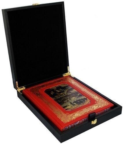Книга в кожаном переплете и подарочном коробе. 1812 год Отечественная война. Кутузов. Бородино (фото)