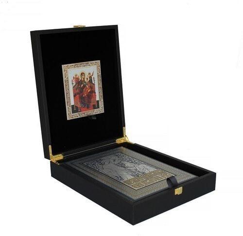 Подарочный набор с книгой в кожаном переплете. Православная энциклопедия с иконой (фото)