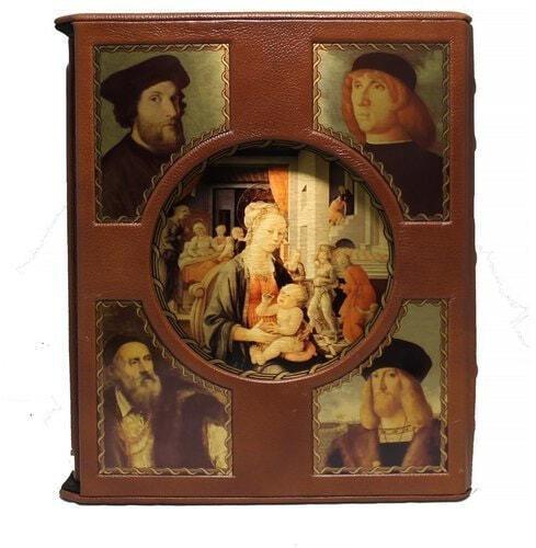 Подарочная книга в кожаном переплете. Великие художники итальянского возрождения в 2 томах (в футляре) (фото)