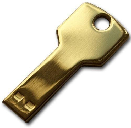 Подарочная металлическая флешка. Ключ (цвет золото)